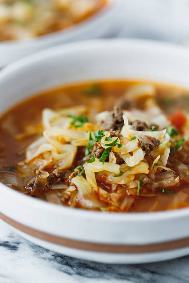 Cabbage soup in a bowl