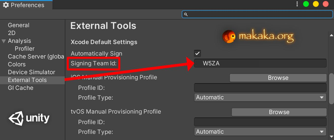 Personal Team ID in Unity Settings — Xcode Automatically Signing for iOS